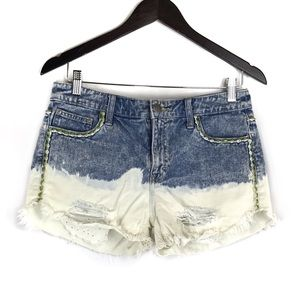 Free People Low Tide Dip Dyed Distressed Shorts